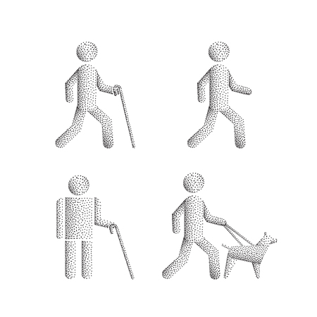 Set of icons stick figure with blind people, the silhouette of a human figure with a white cane and a seeing eye dog. Vector person visually impaired the blind