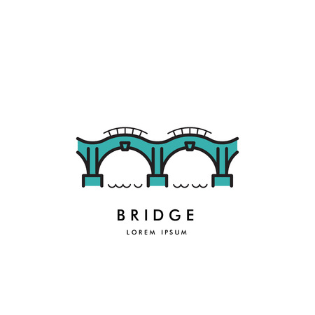 arched: Logo vector arched bridge isolated on white background Illustration