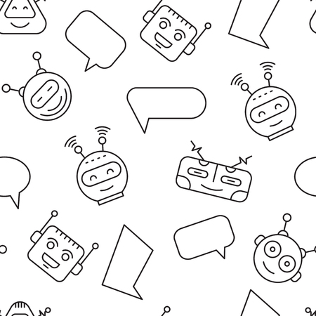 Cartoon character cute Robot Seamless Pattern whith Chat bubble outline stroke pictogram vector on White Background. Chat bot pattern for backgrounds mobile app Ilustração