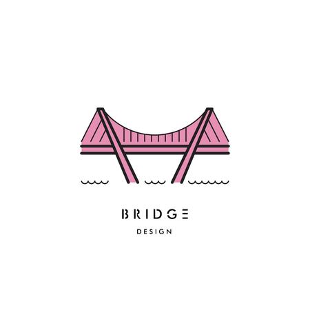 drawbridge: An  image of the cable bridge. logo of the bridge isolated on white