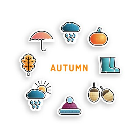 preserved: Set stickers on the theme of autumn flat color, isolated on white . icons illustration of autumn elements.