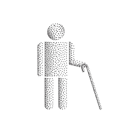 Blind man person stick figure with white cane, silhouette. Illustration dot gradient icon