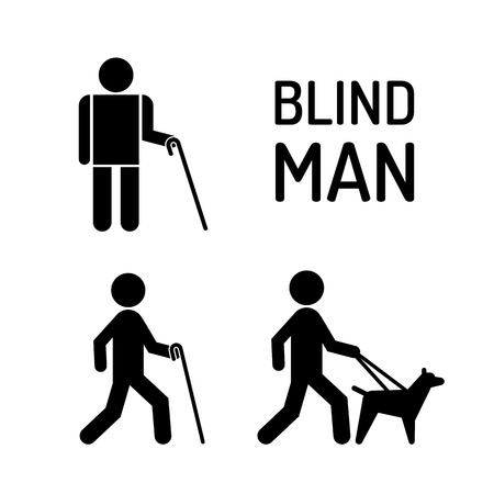 Set of icons stick figure with blind people, the silhouette of a human figure with a white cane and a seeing eye dog. person visually impaired the blind Illustration