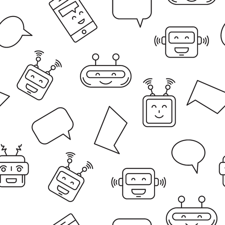 Cartoon character cute Robot Pattern whith Chat bubble outline stroke pictogram on White . Chat bot pattern for mobile app Illustration