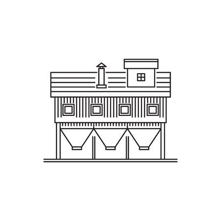 Linear icon of farm warehouse on white background. Ilustracja