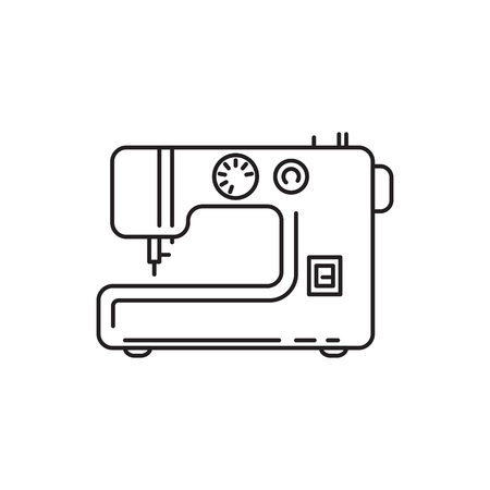Sewing machine outline vector icon isolated on white background. 向量圖像