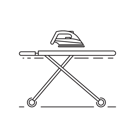 Ironing clothes by iron. Vector illustration outline isolated on white background.