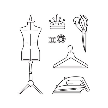 sewing machines: Sewing icons outline vector set. Outline tools and equipment for dressmaker and needlework. Linear vector atelier symbols. Tailor instruments tools kit.
