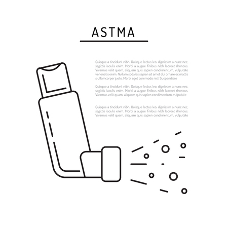 Inhaler Of Asthma Vector Banner Template On Medical Theme With - Asthma brochure template