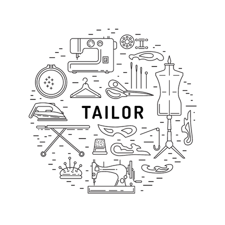 sewing machines: Round banner on the theme of tailoring consisting of icons of equipment tailor. Vector illustration isolated on white background outline