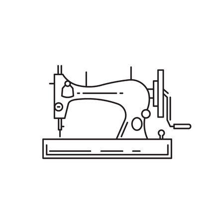 sewing machines: Sewing machine outline vector icon isolated on white background. Illustration