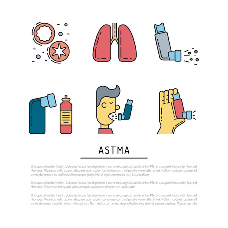 Vector icons on the theme of asthma isolated on white background in outline style Illustration