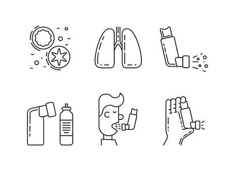 infected: Vector icons on the theme of asthma isolated on white background in outline style Illustration