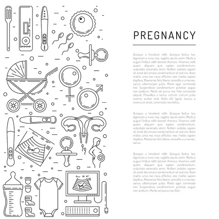 obstetrics: Vector icons pregnancy, obstetrics, gynecology outline icons. Medicine symbols mother, newborn health care, diagnostic equipment. Vector banner isolated on white background with place for text