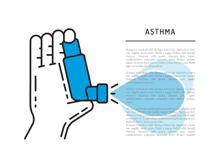 Inhaler of Asthma vector banner template on medical theme with place for text. Asthma inhaler in the hand of the man