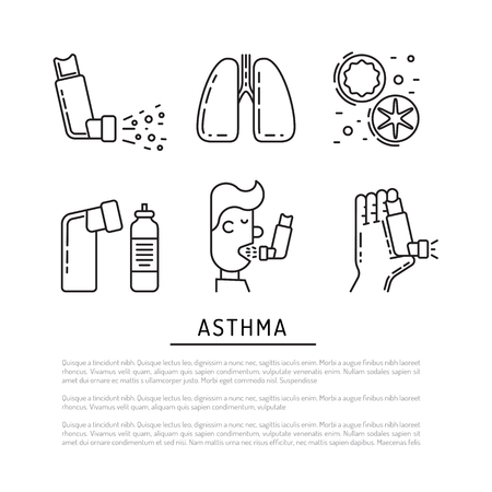 Vector icons on the theme of asthma isolated on white background in outline style. Medical illustration of the topic of asthma, icons of the person with asthma and asthmatic cough stimuli. Illustration