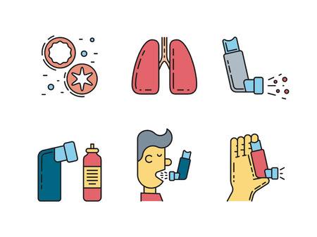 Vector icons on the theme of asthma isolated on white background in outline style.