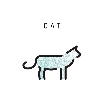 cat icon in a outline, minimal style.
