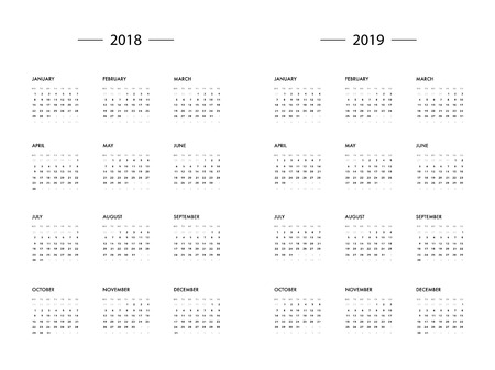 calendar 2018 2019 year template royalty free cliparts vectors and