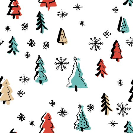 Scandinavian seamless pattern of Christmas Çizim