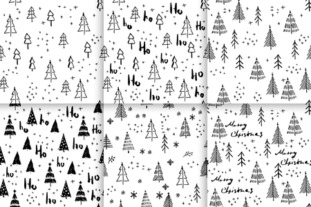 Set Hohoho and christmas tree pattern, Santa Claus laugh. Seamless texture for Christmas design wrapping. Vector blue background with handwritten words ho and christmas tree