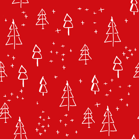 Scandinavian seamless pattern of Christmas tree vector hand-drawing graphics. Christmas pattern for wrapping paper and festive decoration of Christmas and Happy new year 2018 向量圖像