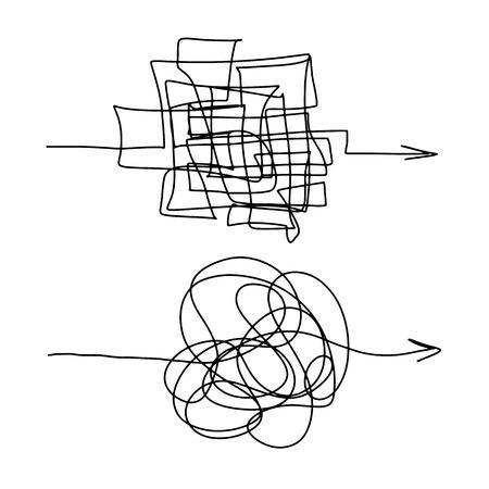 Ilustración de forma caótica de proceso difícil. Línea complicada enredada. El laberinto de ilustración de vector de bola de líneas. Ruta de vector de garabatos enredados Ilustración de vector