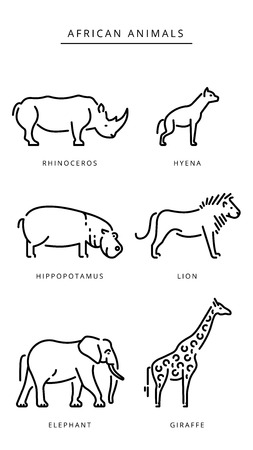 African savanna animals set outline vector illustration