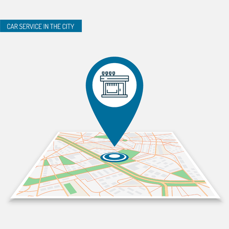 The best location pin of the store location on the city map. Icon location of the icon image of the best cafes in the city. Mobile application navigating the city with pins cafes, restaurants, shops  イラスト・ベクター素材
