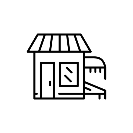 Store front fish market icon outline vector logo. Icon of the fish market building in the city in a minimalist outline style flat. Illustration