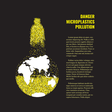 Of microplastics in the water vector banner. Çizim