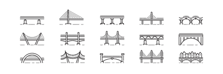 bridge line art icon set vector isolated
