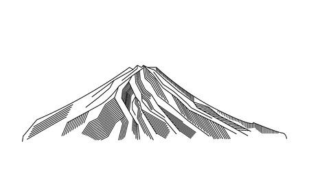 Mountain, volcano line art vector illustration. Fuji outline symbol of Japan. Illustration
