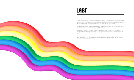 Waving Flag of LGBT banner with space for text Ilustración de vector