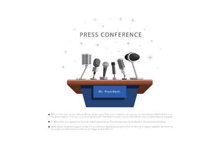 press conference urgent news vector illustration in flat style
