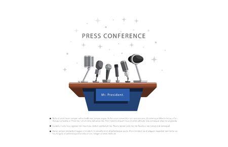 Pressekonferenz dringende Nachrichten-Vektor-Illustration im flachen Stil