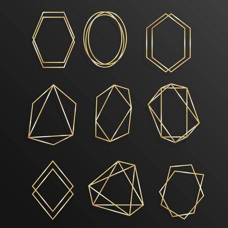 Set Gold of geometrical frame polyhedron line art