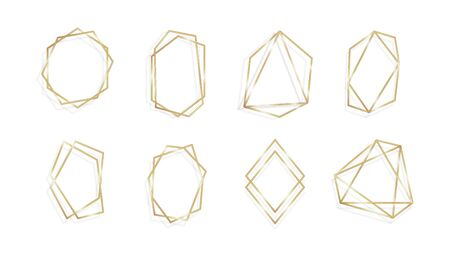 Set of geometric golden frame invitation cards isolared background line art  イラスト・ベクター素材