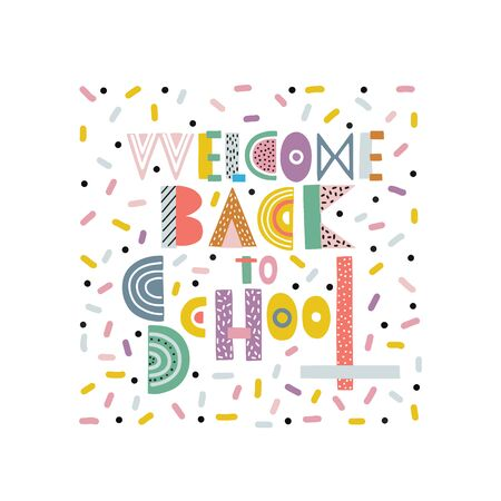Welcome back to school cartoon handdrawn lettering
