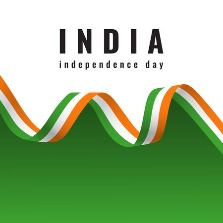 Indian national flag ribbon. Happy Independence Day India celebration. Elegant Poster, Banner or Flyer design for 15th August. The day Republic of India
