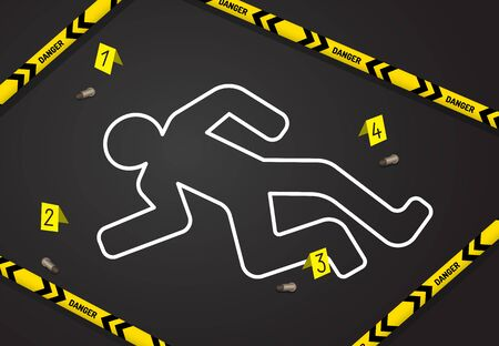 Crime scene, do not cross police tape. Chalk outline from the murder Stock Vector - 130597966