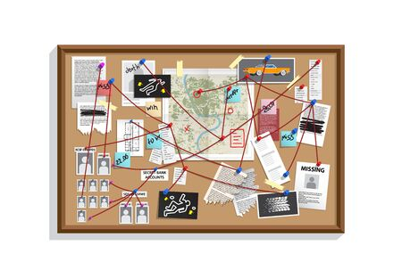 Detective Board with pins and evidence, crime investigation Illustration