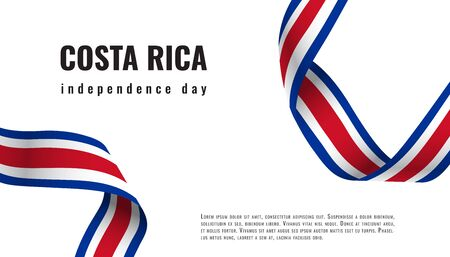 Costa Rica Independence Day ribbon banner vector  イラスト・ベクター素材