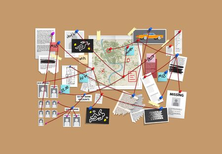 Detective Board with pins and evidence, crime investigation Ilustração