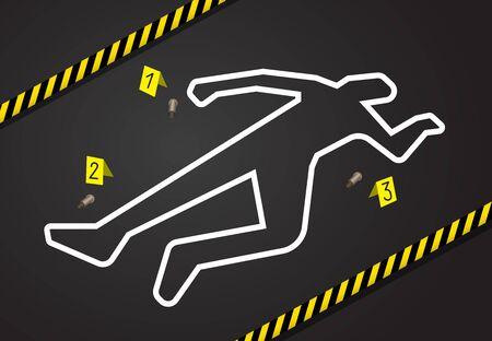 Escena del crimen, no cruce la cinta policial. Esquema de tiza del asesinato