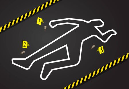Tatort, überqueren Sie kein Polizeiband. Kreideumriss vom Mord
