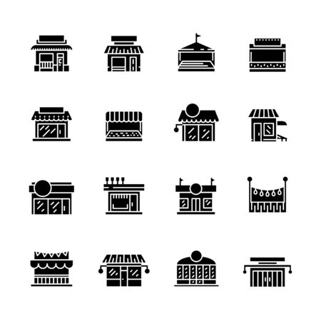 Commerce store front glyph vector icon flat