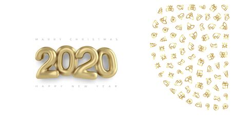 Happy new year 2020 banner with gold 3d inscription and ornaments. 2020 happy new year and marry Christmas background.  イラスト・ベクター素材