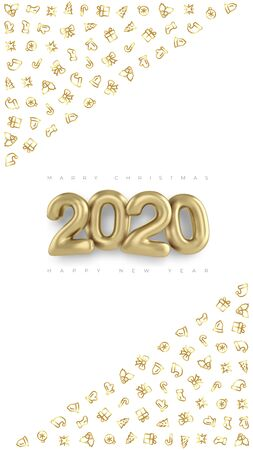 Social media story layouts 3d gold inscription 2020, greeting merry Christmas and happy new year. Editable stories vector template. Xmas 2020.