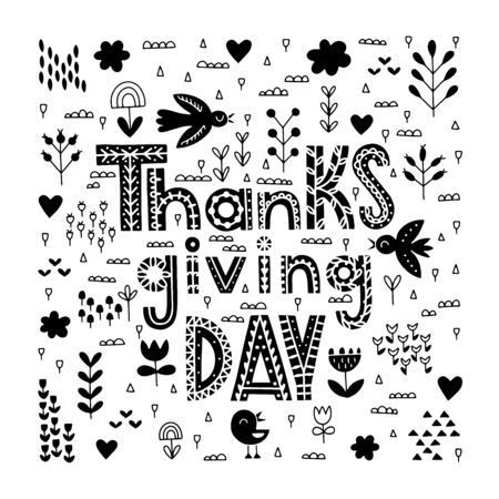 Scandinavian Thanksgiving day typography. Vector Thanksgiving lettering with pumpkins, apples, autumn leaves, migratory birds, clouds, sparkles. Thanksgiving day ink floral design. Reklamní fotografie - 133550819